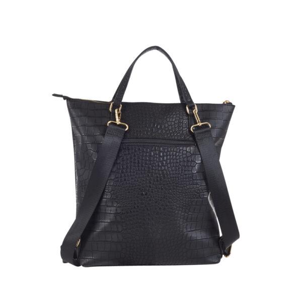 Kombi, ryggsäck/shopper, handtag, reglerbar rem, ficka bak, inv. fack med dragkedja, inv. fack utan dragkedja