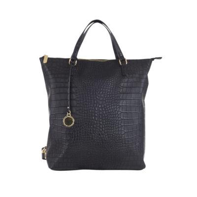 """Väska i fint croco mönster. Kombinera ryggsäck/shopper, 1 handtag, 2 reglerbara remmar bak, ficka bak perfekt för plånboken. 2 invändiga fack, 1 med dragkedja, 1 utan dragkedja. Passa en 13""""tum laptop. Färg: Svart Storlek: H37 x B36 x D10 cm Material: Konstläder, Syntet"""